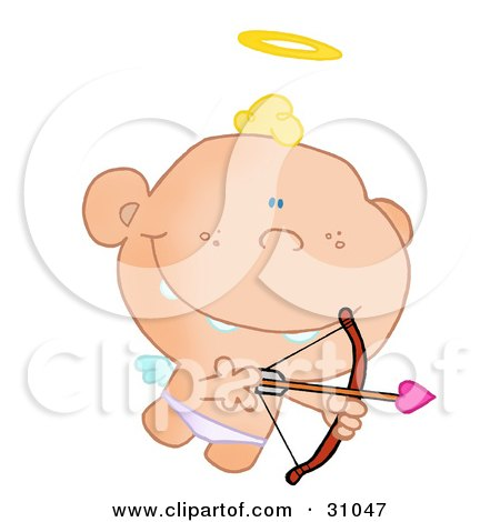Cupid Flying With A Halo Above His Blond Hair, Aiming An Arrow Posters, Art Prints