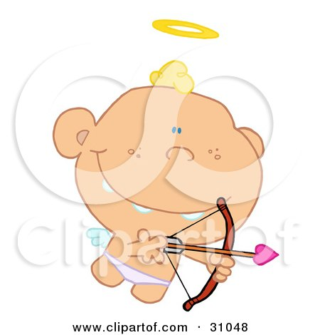 Clipart Illustration of a Grinning Cupid Flying With A Halo Above His Head, Aiming An Arrow by Hit Toon