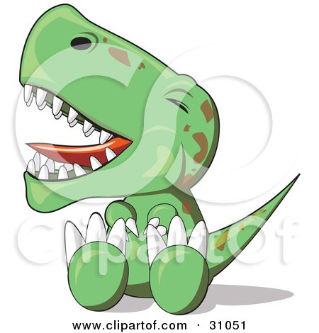 Clipart Illustration of a Fussy Baby T-Rex Dinosaur Sitting On The Ground And Throwing A Temper Tantrum by PlatyPlus Art
