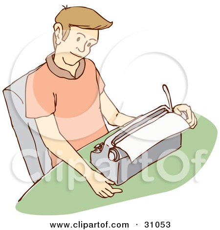 Young Caucasian Man Reading A Letter He Is Typing On A Typewriter Posters, Art Prints