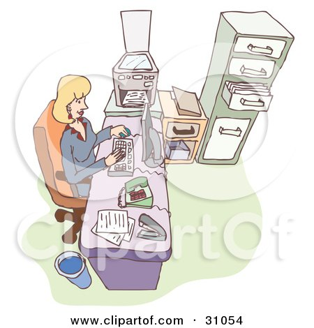Clipart Illustration of a Blond Caucasian Woman, Boss Or Secretary, Typing On A Computer At Her Office Desk by PlatyPlus Art