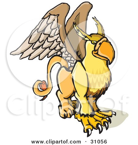 Clipart Illustration of a Winged Griffin Creature, Part Lion, Part Eagle by PlatyPlus Art