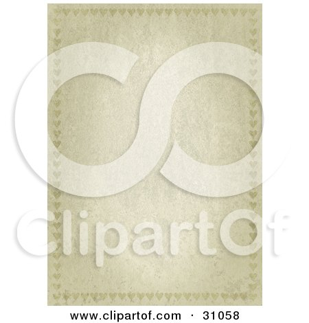 Clipart Illustration of a Vertical Stone Textured Stationery Background With Faint Heart Borders by suzib_100