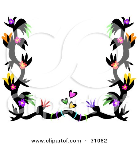 Black  White Flower Picture on Black Tattoo Border With Colorful Flowers And Hearts Bordering White