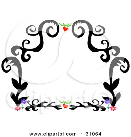 of a black tattoo plant design border with hearts and flowers, on white.