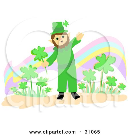 St Paddy's Day Leprechaun Waving And Holding A Shamrock While Standing In Front Of A Rainbow And Clover Patch Posters, Art Prints