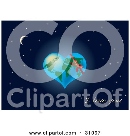 "Clipart Illustration of Earth Shaped As A Heart, With A Red Ribbon, Over A Starry Night Sky With A Crescent Moon And ""I Love You"" Text by Eugene"