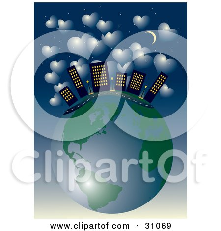 Clipart Illustration of City Skyscrapers And A Road On Top Of Planet Earth, Under A Starry Night Sky With A Crescent Moon And Hearts by Eugene