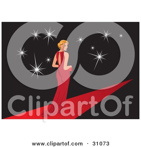 Clipart Illustration of a Famous Female Blond Caucasian Celebrity In An Elegant Red Gown, Posing For Cameras While Walking Down A Red Carpet Path by Eugene