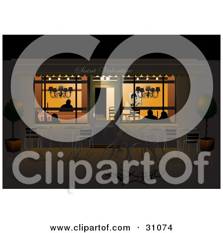 Exterior View Of Silhouetted Couples Dining In A Cafe At Night, With Bikes And Tables On The Sidewalk Posters, Art Prints