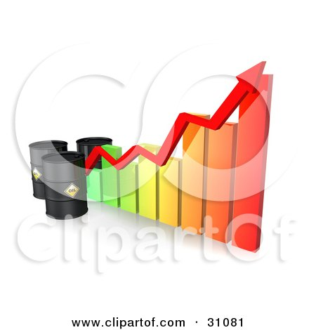 Clipart Illustration of Three Black Oil Barrels And A Red Arrow Along The Incline Of A Colorful Bar Graph by Frog974