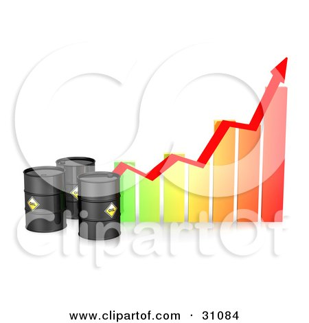 Clipart Illustration of Three Black Barrels Of Oil By A Colorful Bar Graph With A Red Arrow Showing An Incline by Frog974