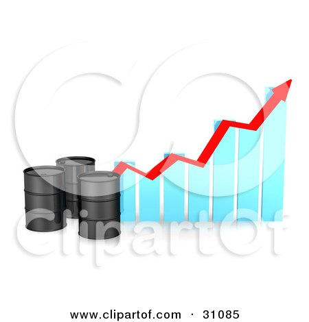 Clipart Illustration of Three Black Unmarked Oil Barrels By A Blue Bar Graph With A Red Arrow Showing An Incline by Frog974