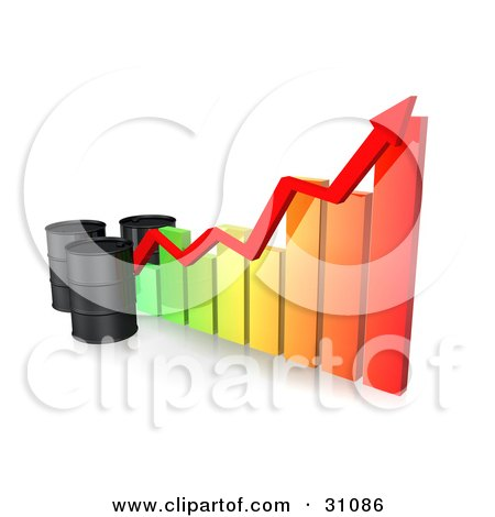 Clipart Illustration of Three Unmarked Black Oil Barrels And A Red Arrow Along The Incline Of A Colorful Bar Graph by Frog974