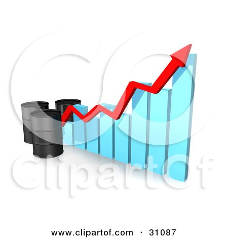 Clipart Illustration of Three Unmarked Black Oil Barrels And A Red Arrow Along The Incline Of A Blue Bar Graph by Frog974