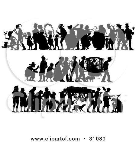 Clipart Illustration of a Set Of Silhouetted People In Different Scenes; Wedding, Voyage, And Funeral by Eugene
