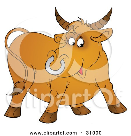 Horned Brown Bull With A Silver Ring In His Nose Posters, Art Prints