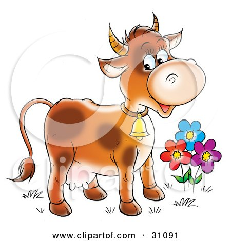 Clipart Illustration of a Happy Farm Cow With Spots, Wearing A Bell And Standing By Colorful Flowers by Alex Bannykh