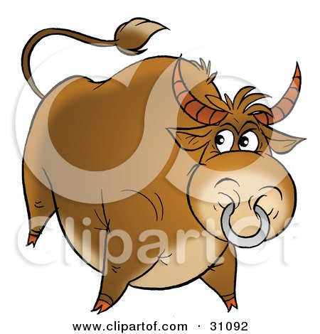 Clipart Illustration of a Big Beefy Brown Bull With A Ring In His Nose by Alex Bannykh