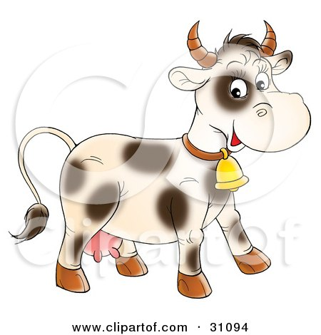 Clipart Illustration of a Friendly Cream Cow With Spots, Wearing A Golden Bell by Alex Bannykh