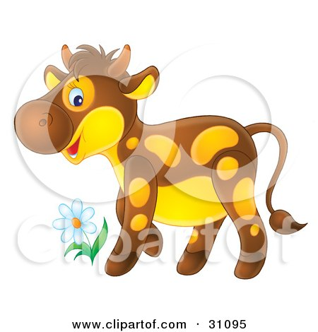 Clipart Illustration of an Adorable Brown Calf With Yellow Spots And A Yellow Belly, Standing By A Spring Flower by Alex Bannykh