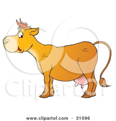 Clipart Illustration of a Cute Cow In Profile, With Pink Udders And Short Horns by Alex Bannykh