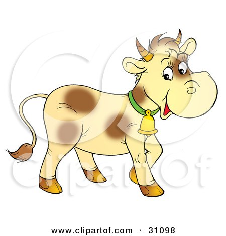 Clipart Illustration of a Pale Yellow Cow With Brown Spots, Wearing A Bell by Alex Bannykh