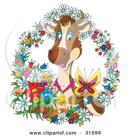 Clipart Illustration of a Happy Brown Dairy Cow Wearing A Bell And Watching A Butterfly On Her Hoof, Surrounded By A Wreath Of Colorful Spring Flowers by Alex Bannykh