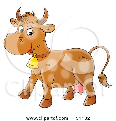 Clipart Illustration of a Happy Brown Cow With Faint Spots, Wearing A Bell by Alex Bannykh