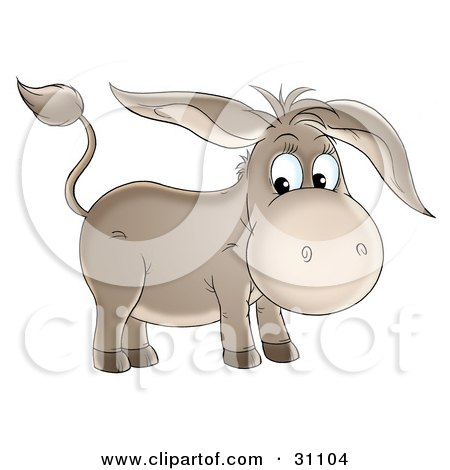 Cute Brown Baby Donkey With Long Ears Posters, Art Prints