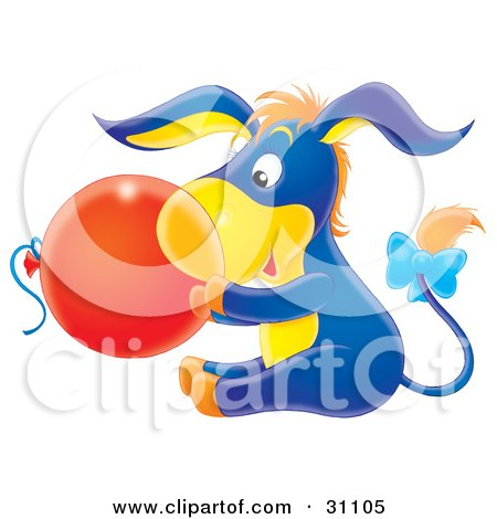 Clipart Illustration of a Cute Blue And Yellow Baby Donkey With Orange Hair And A Bow On His Tail, Holding A Red Balloon by Alex Bannykh