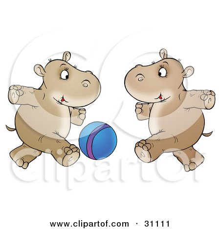 Clipart Illustration of Two Hippos Running And Playing With A Blue Ball by Alex Bannykh