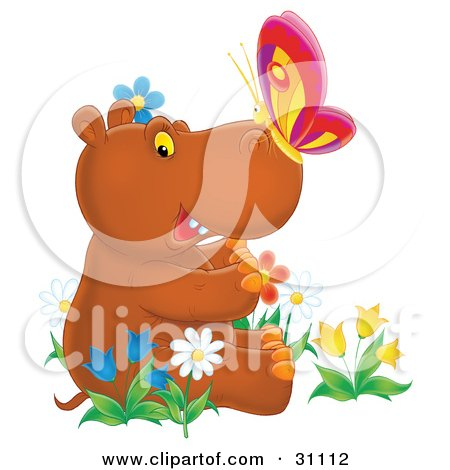 Clipart Illustration of a Cute Brown Baby Hippo With A Butterfly On His Nose, Sitting In A Bed Of Colorful Spring Flowers, Tulips And Daisies by Alex Bannykh