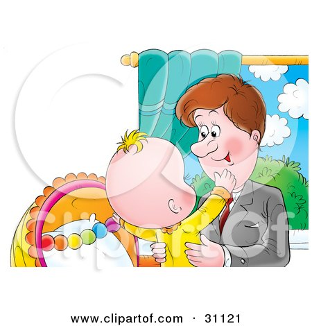 Clipart Illustration of a Loving Father Picking Up His Child After Arriving Home From Work by Alex Bannykh