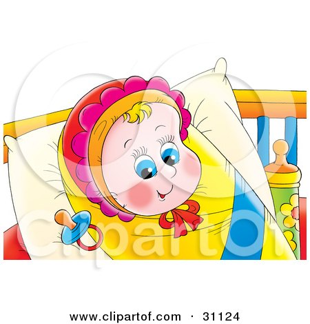 Clipart Illustration of a Happy Blue Eyed Baby Girl In A Bonnet, Bundled Up In A Blanket And Resting On A Pillow With A Pacifier By Her Head by Alex Bannykh