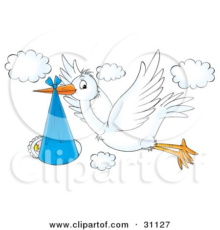 Flying White Stork Bird With A Baby Bundled In A Blue Cloth Posters, Art Prints