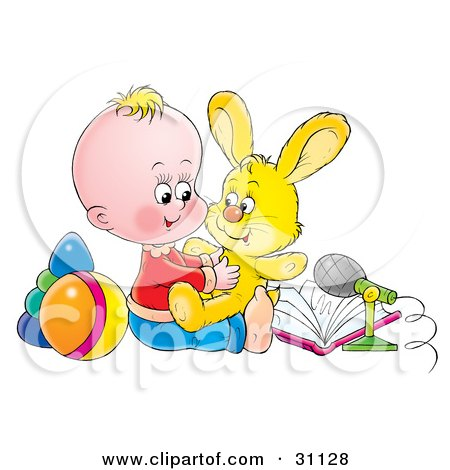 Clipart Illustration of a Cute Blond Baby In A Nursery, Playing With Rings, A Ball, Microphone, Book And Stuffed Bunny Rabbit Animal by Alex Bannykh