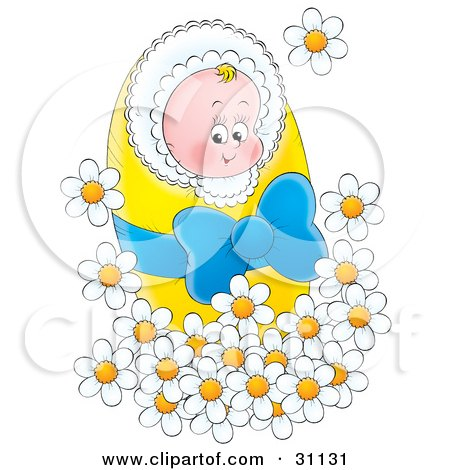 Картинки за Рожден ден! 31131-Clipart-Illustration-Of-A-Happy-Little-Newborn-Baby-Bundled-In-A-Yellow-Blanket-With-A-Blue-Ribbon-Surrounded-By-White-Spring-Daisy-Flowers
