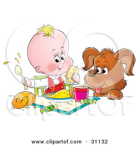 Clipart Illustration of a Puppy With His Paws Up On A Table, Watching A Baby Make A Mess While Eating by Alex Bannykh