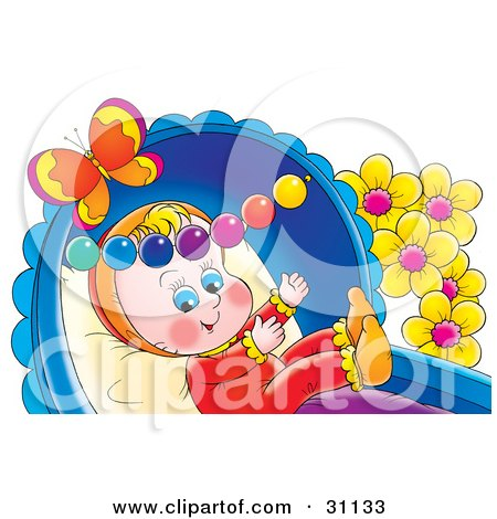 Clipart Illustration of a Happy Baby Playing In A Crib With