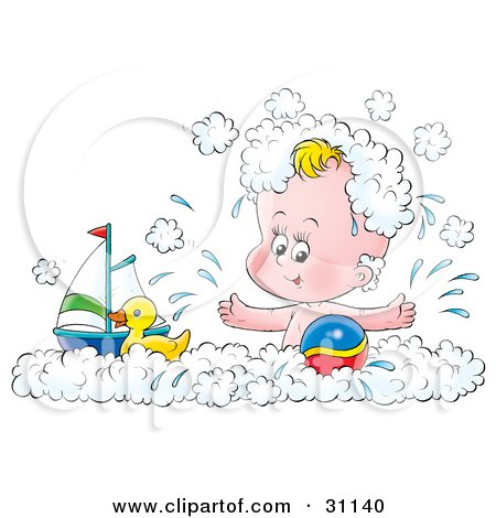 Happy Baby Splashing And Playing With A Toy Boat, Rubber Ducky And Ball In A Bubble Bath Posters, Art Prints