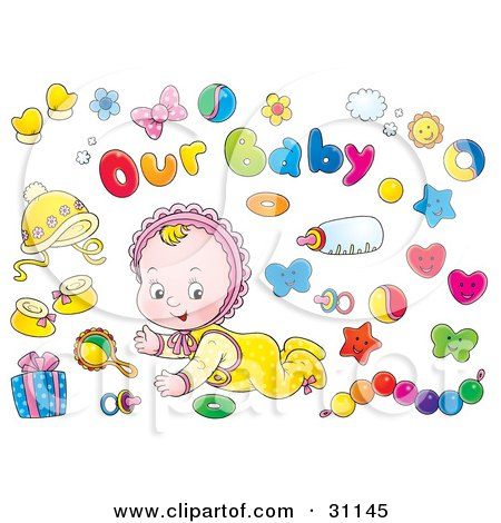 Clipart Illustration of a Crawling Little Baby In A Bonnet, Surrounded By Toys, Bows, A Bottle, Gift And Pacifier by Alex Bannykh