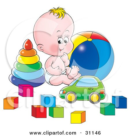 Clipart Illustration of a Happy Baby In A Diaper, Sitting On The Floor Of A Nursery And Playing With A Car, Rings, Ball And Blocks by Alex Bannykh