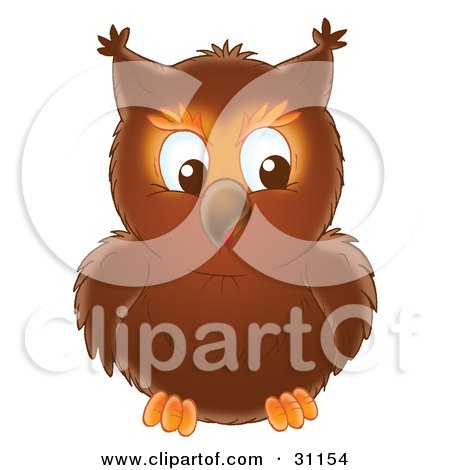 Clipart Illustration of a Brown Owl Facing Front, Its Eyes Looking Towards The Right by Alex Bannykh