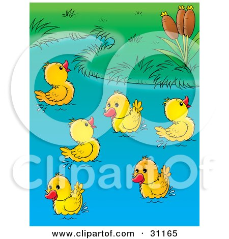 Clipart Illustration of a Group Of Happy Yellow Ducklings Playing In A Pond by Alex Bannykh
