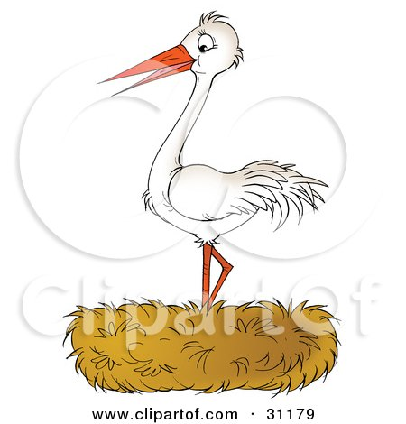 Clipart Illustration of a Happy White Stork Bird Standing In A Nest by Alex Bannykh