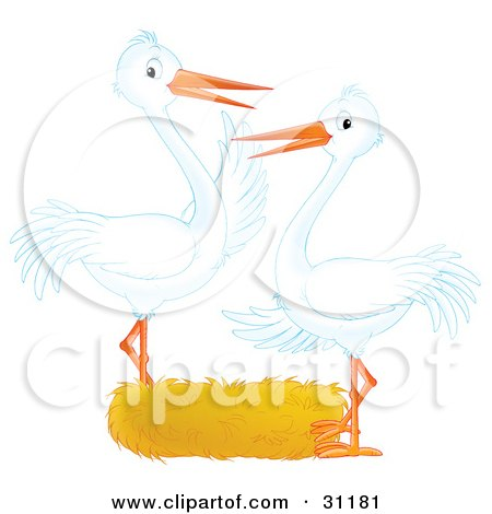 Clipart Illustration of Two White Storks Standing At An Empty Nest, Symbolizing Adoption Or Empty Nest Syndrome by Alex Bannykh