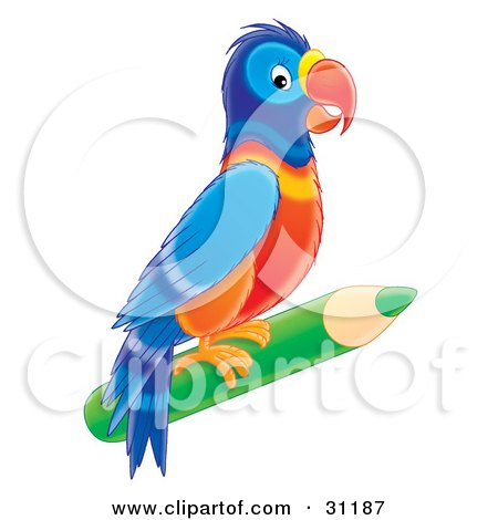 Clipart Illustration of a Colorful Parrot Perched On A Green Colored Pencil by Alex Bannykh