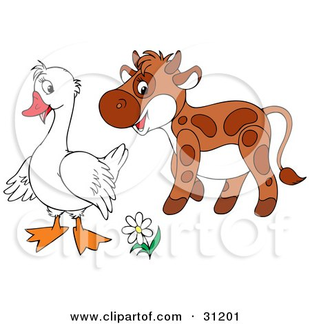 Clipart Illustration of a Cute Brown Calf Talking With A White Goose by Alex Bannykh