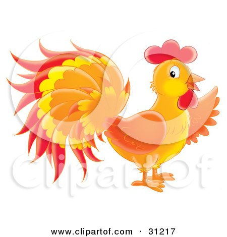 Clipart Illustration of a Colorful Orange, Red And Yellow Rooster In Profile by Alex Bannykh